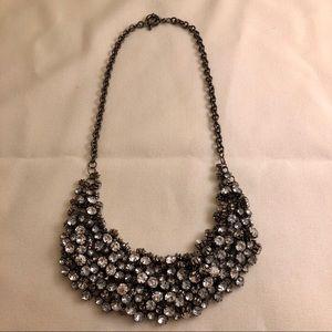 Crystal Clustered Bib Statement Necklace Gunmetal